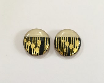 20mm Bamboo and Black/Gold Resin Studs
