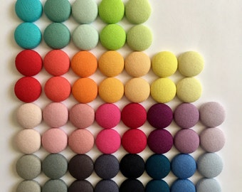 15mm Block Colours Fabric Button Studs • Various Colours • Button Earrings • Solid Colour • Surgical Steel