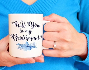 "Coffee Mug Gift - Bridesmaid Mug - Bridesmaid Proposal Watercolor Floral Mug - Will You Be My Bridesmaid ""Bella Floral"" Watercolor Mug"