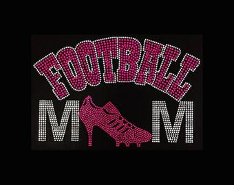 """Football, Football Mom Cleats(6x9"""") Rhinestone Bling t-shirt, Personalize, Customize, Add Name Number, etc"""