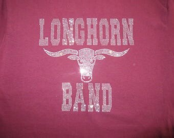 Band, George Ranch Longhorn Band, Make this your band and mascot,  Rhinestone Bling T-Shirt Personalize Customize Add Name or Number