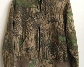 1990s REAL TREE CAMO Zip-Up Vintage Hoodie // Size Large