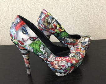 Harley Quinn/ Joker Comic Book Heels