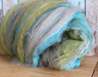 Avalon, 4.5 oz hand carded art batt, Merino, Romney and Mulberry Silk, 4.3 For spinning, weaving or felting.
