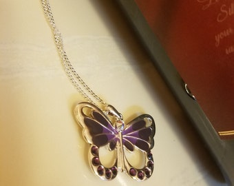 Sterling silver necklace with purple swarvoski butterfly