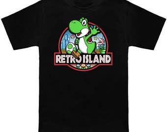 Yoshi RETRO ISLAND Geek T-Shirt Super Mario Bros World Jurassic Park Mashup Nintendo Shirt Video Game Nerd Pop Culture Dinosaur Island