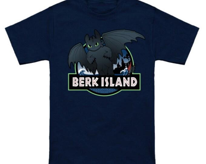 BERK ISLAND Geek T-Shirt How To Train Your Dragon/Jurassic Island Mashup Nerd Shirt Viking Hiccup HTTYD