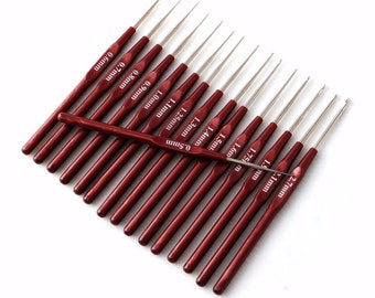 16pcs Plastic Handle Crochet Hooks Handle Knitting Needles Set