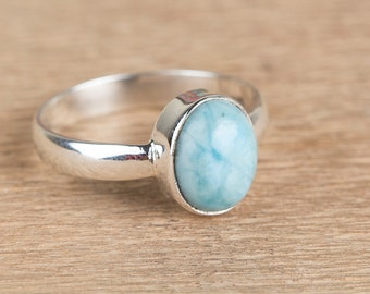 Dominican Republican Natural Larimar Gemstone Pure 925 Sterling Silver Ring, Blue Gemstone Ring, Healing Ring