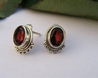Garnet Stud Earrings, Garnet Earrings, January Birthstone Earrings, Garnet Gemstone Small Sterling Silver Stud Earrings, Garnet Jewelry