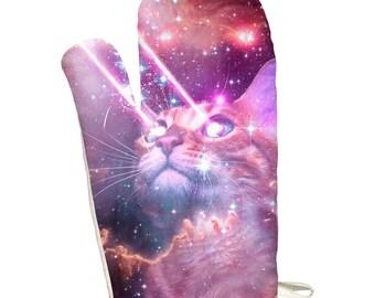 Galaxy Cat Laser Beams All Over Oven Mitt