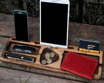 iPad docking station, iPad stand, table stand, iPhone wood stand, cell phone wood stand, wooden organizer, wood gadget stand, gadget support