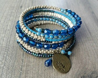 Memory Wire Bracelet. Memory Wire Wrap Bracelet. Beaded Bracelet. Peanut Bead Bracelet. Cuff Bracelet. Coil Bracelet. Stacked Bracelet.