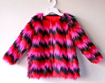 Zig Zag Faux Fur Coat
