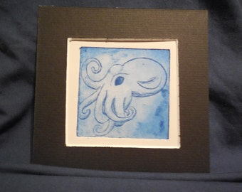 "Handmade Intaglio Etching - Copper Plate Print - Image 3x3 - ""Baby Cthulhu"""