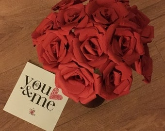 A Dozen Roses Paper Flowers  Valentines Day. Love. Anniversary. Bouquet