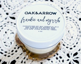 FRANKIE AND MYRRH//Soy Wax Wood Wick Candle//Hand Poured Soy Candle//4oz