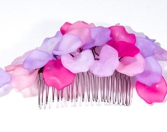 Pink Flower hair comb, Fairy Hair Comb, Festival hair comb