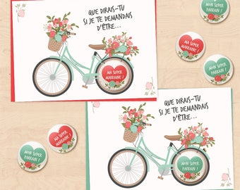 Set of 2 gift cards-badges Collection Flower bike sponsor for baptism - requested
