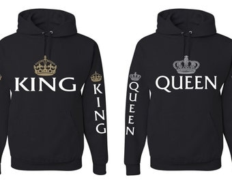 Couple Hoodies King And Queen Hoodies Couple Gift Cool Graphic Valentine Day Size S,MLXL,2XL,3XL Black Hoodie Color