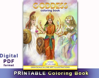 Printable Digital Download- Goddess Coloring Book Grayscale & line art illustrations (Coloring Books,  Adult Coloring Books, Adult Coloring)