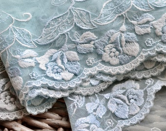Blue lace trim I Blue embroidered tulle I Lace trim I Blue white lace I Embroidered lace I Lingerie lace I Lace I Scalloped lace trim