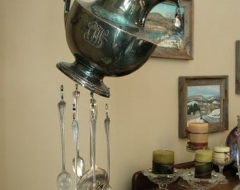 Gorham Silver Teapot, Tea pot wind chimes, crystal wind chimes, wind chimes, spoon wind chimes, teapot wind chime