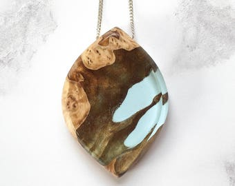 Wood Resin Necklace, Pale Blue Pendant, Handmade Jewellery, Handcrafted, Boho Jewelry, Burl, Epoxy Resin, Mother's Day Gift
