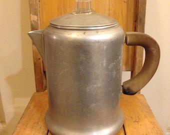 Vintage percolating coffee pot/ 8 cup coffee pot/ aluminum coffee pot/ camping coffee pot