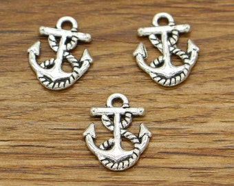 50pcs Anchor Charms Nautical Charms Antique Silver Tone 14x17mm cf2261