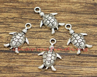 30pcs Turtle Charms Tortoise Charms Animal Charms Antique Silver Tone 14x19mm cf0885