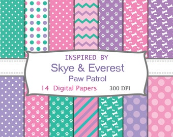 14 DIGITAL PAPERS inspired by Skye and Everest, Paw Patrol, birthday
