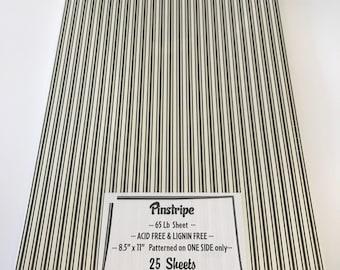 Pinstripe Cream Black Printed Paper 65 lb Cardstock 8.5 x 11 25 sheets QUALITY
