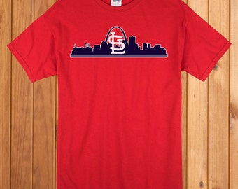 St.Louis Cardinals Red T-Shirt City Skyline FREE SHIPPING!!!
