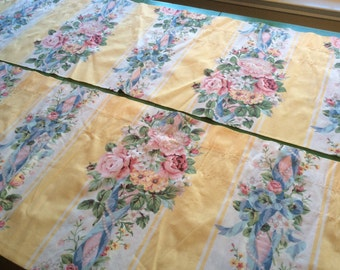 2 Vintage Croscill Valances, Bouquets and Pearls on Yellow