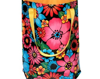 """Shopper - tote bag - boho bag - """"Tehuana"""" from waterproof mexican oilcloth"""