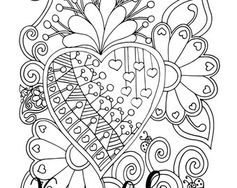 Valentine's - Proud Heart, 1 Adult Coloring Book Page, Printable Instant Download.