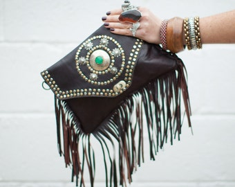 Dark Leather Fringed Shoulder Bag, Studded with Bronze and Silver, Embellished with Natural Stone, Gypsy, Hippie, Boho, Mediterranean Style