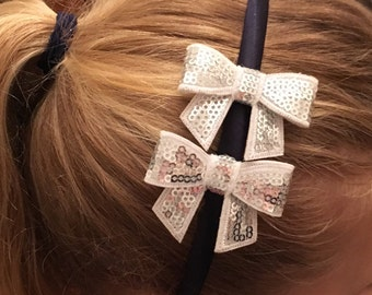 Silver Sequin bow, alice band, childs hair accessories, childrens stocking filler hair band, headband, party hairpiece