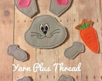 OS Heart Bunny Feltie Parts Embroidery Design
