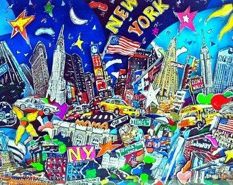 New York City 3D Pop Art shadow box skyline architecture print USA souvenir Brooklyn Bridge