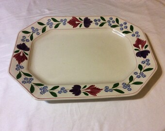 English Country Adams Old Colonial Floral Large Platter Tray Made in England