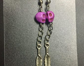 Purple Skull & Feather Earrings