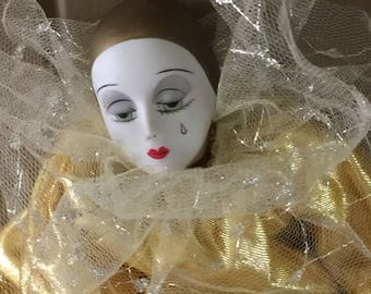 Vintage Pierrot Doll, Boudoir Doll, Vintage Doll, Vintage Pierrot Doll