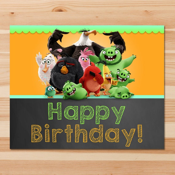 Angry Birds Happy Birthday Sign Chalkboard Angry Birds Sign