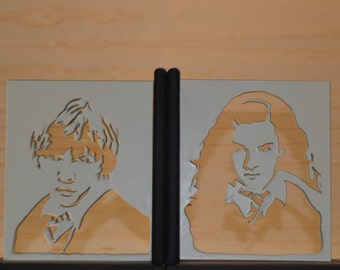 Harry potterBookend . Ron, Hermione y harry, hogwarts, harry potter gifts, literary gifts, wooden bookends, bookends.