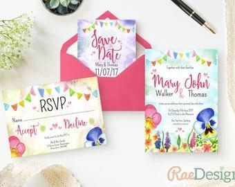 Pansies Festival Wedding Invitation - WeddingFest Invitation, Printable Outdoor Wedding Invite, Floral, Summer Invitation, Template