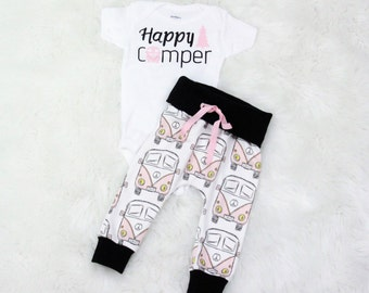 Happy Camper/Pink VW bug/happy camper girl/coming home outfit/