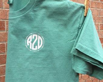 Monogram Comfort Color Tshirt, Short Sleeve Comfort Color Monogram Shirt, Comfort Color Monogram Shirt, Monogram Tshirt