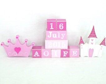 Wooden blocks, Baby name blocks, Personalised blocks, Custom baby blocks, New baby gift, nursery decor - Princess